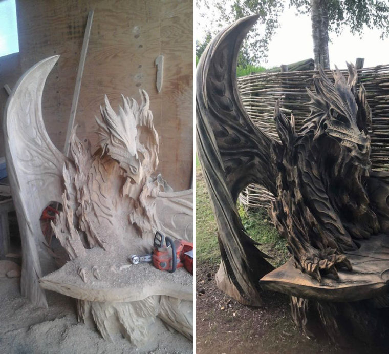 Тази Невероятна Драконова Пейка Е Била Издълбана С Помощта На Резачка 34