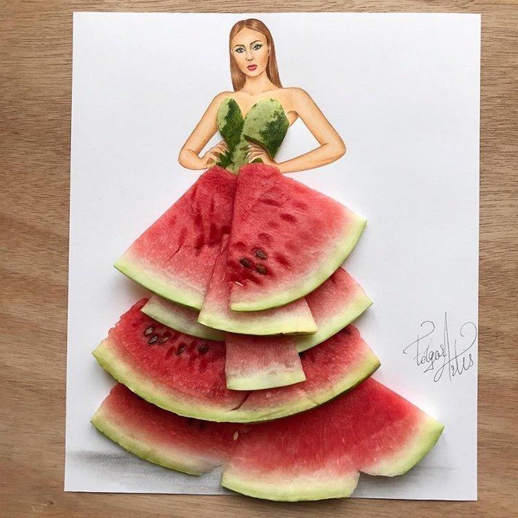 Артист създаде уникални скици на дрехи от импровизирани средства и храна.. Уникално 34