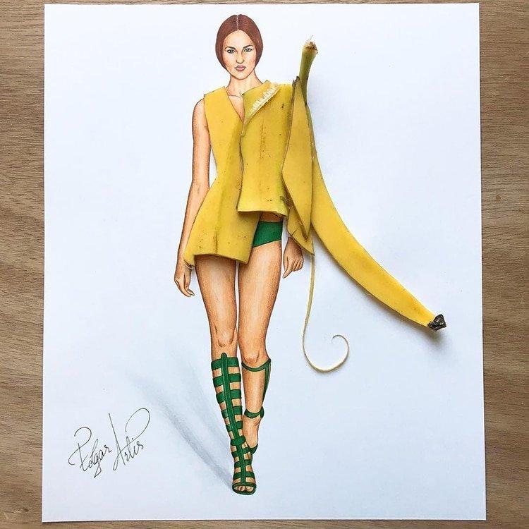 Артист създаде уникални скици на дрехи от импровизирани средства и храна.. Уникално 35