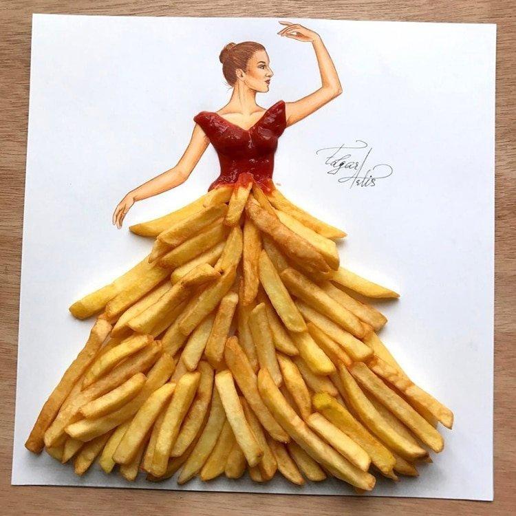 Артист създаде уникални скици на дрехи от импровизирани средства и храна.. Уникално 36