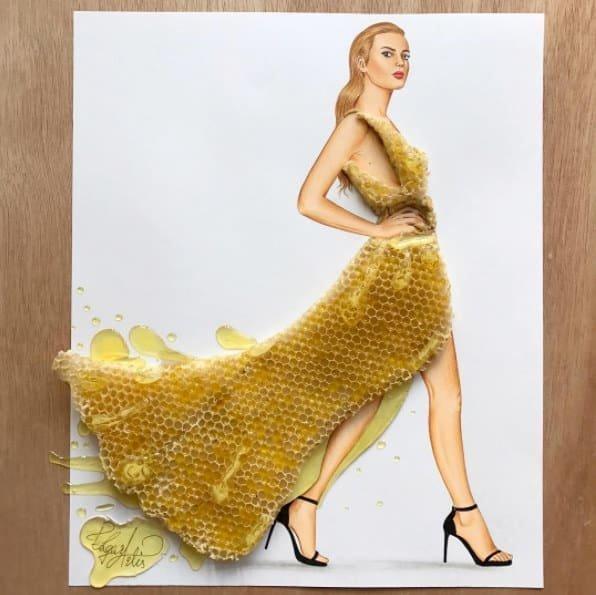 Артист създаде уникални скици на дрехи от импровизирани средства и храна.. Уникално 39