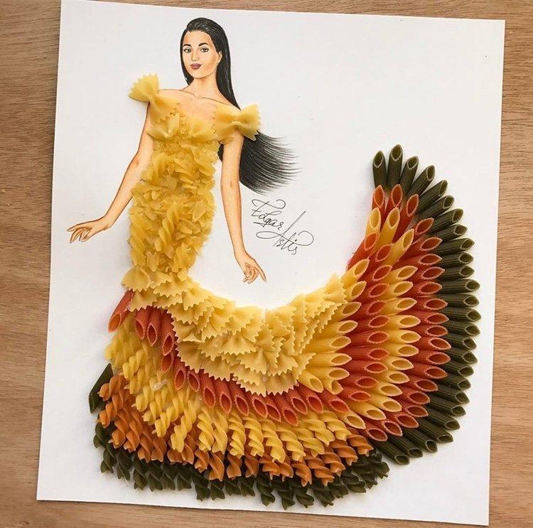 Артист създаде уникални скици на дрехи от импровизирани средства и храна.. Уникално 41